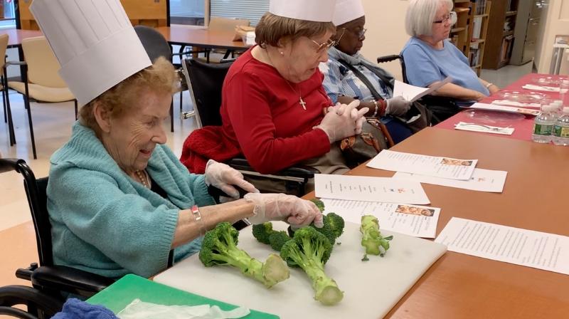 seniors cooking at nursing home