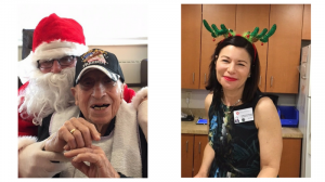 Left: Santa (Logan Mensch) with resident, Anthony Nardozzi; Right: Linda Erman-Strober, art therapist