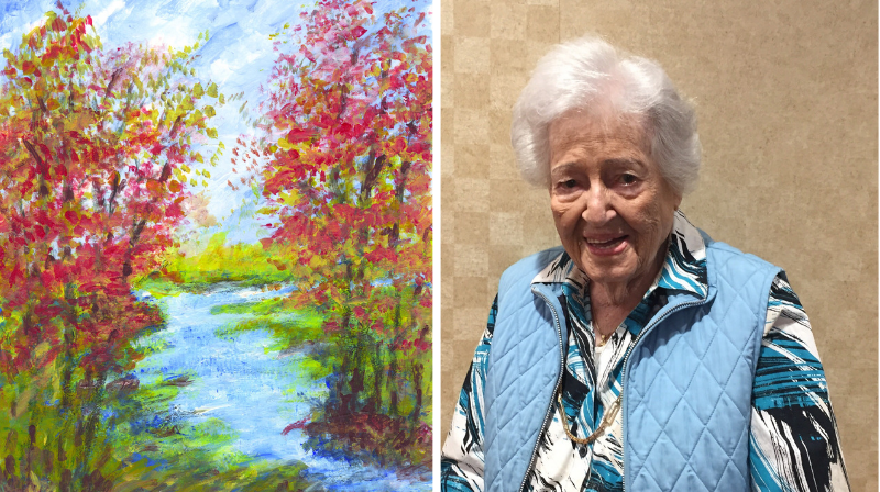 Assisted living resident and her artwork
