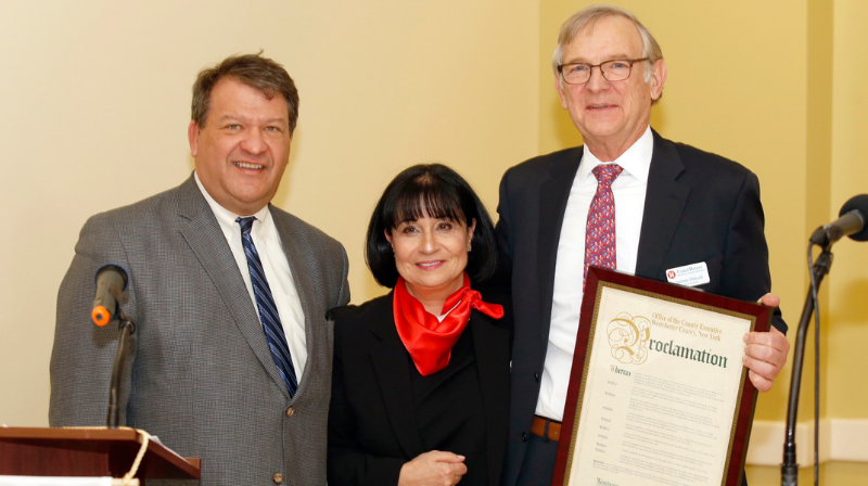 County Executive George Latimer, Rita Mabli, James Staudt