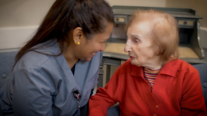 dementia caregiver and resident