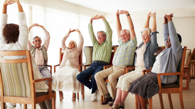 Active older adults do chair yoga